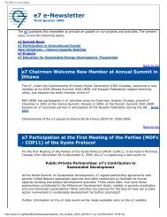 Q3 2005 e7 e-Newsletter - Global Sustainable Electricity Partnership