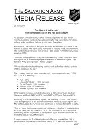 MEDIA RELEASE - Salvation Army