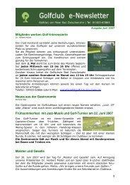 Newsletter Juni 2007 - Golfclub am Meer