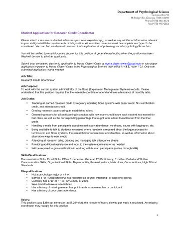 Student Application for Research Credit Coordinator - Georgia ...