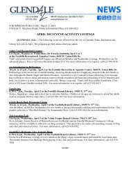 April Events from Glendale's Parks, Recreation ... - City of Glendale