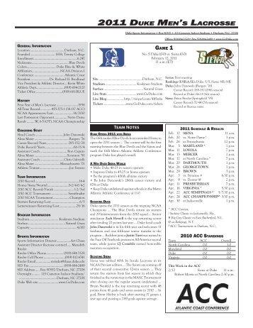 2011 Duke Men's Lacrosse - Duke University Athletics