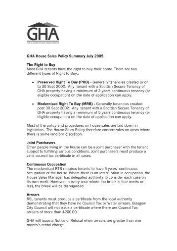 GHA House Sales Policy Summary July 2005 - Glasgow Housing ...