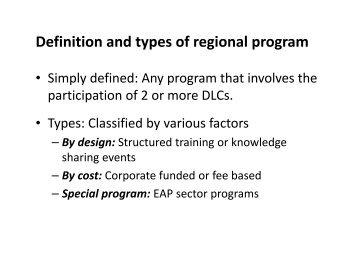 Planning and organizing regional programs