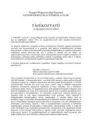 TÁJÉKOZTATÓ - NymE GEO portál