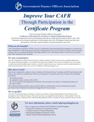 Improve Your CAFR Certificate Program - Government Finance ...