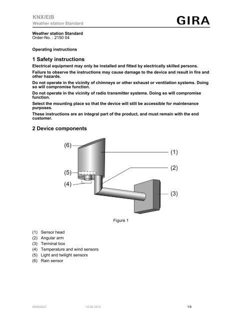 1 Safety instructions 2 Device components KNX/EIB - Gira