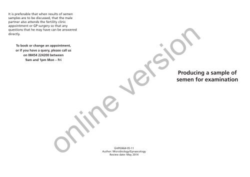 Producing A Sample Of Semen For Examination