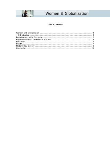 Table of Contents Women and Globalization ... - Globalization101