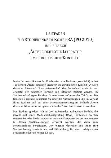 leitfaden für studierende im kombi‐ba (po 2010) - Germanistik
