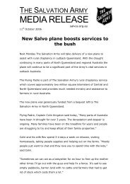 New Salvo plane boosts services to the bush - Salvation Army