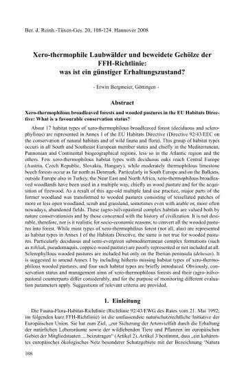 Xero-thermophile Laubwälder und beweidete Gehölze der FFH ...