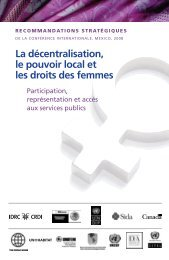 La décentralisation, le pouvoir local et les droits des femmes