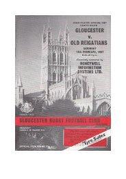 Gloucester v. Old Reigatians - Gloucester Rugby Heritage