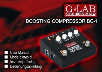 Instrukcja obsługi Boosting Compressor BC-1 - G LAB