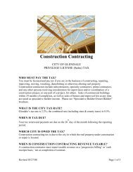 Construction Contracting - City of Glendale