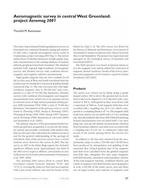 Review of Greenland Avtivities 2001 - Aeromagnetic survey ... - Geus