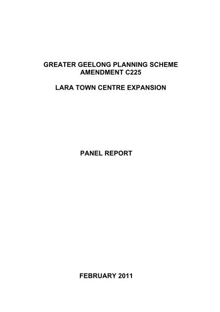 Greater Geelong C225 Panel Report - City of Greater Geelong
