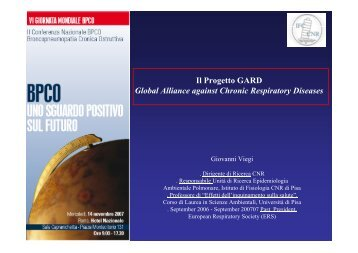 Il Progetto GARD Global Alliance against Chronic ... - GOLD