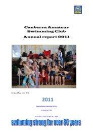 CASC Annual Report - 2011 - Canberra Amateur Swimming Club