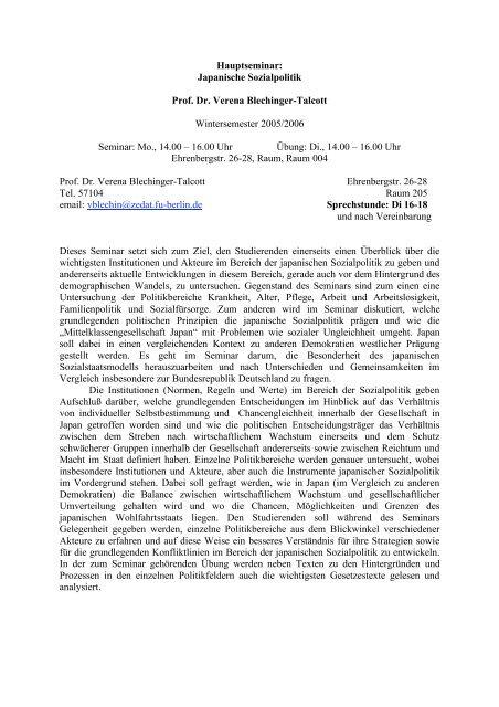 Japanische Sozialpolitik Prof. Dr. Verena Blechinger-Talcott ...