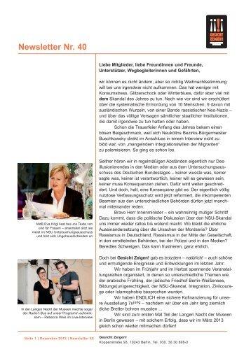 Newsletter Nr. 40 - Gesicht Zeigen!