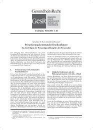Privatisierung kommunaler Krankenhäuser - GesR