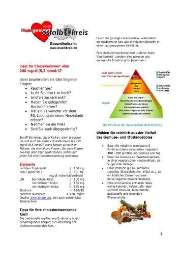 Tipps für Ihre cholesterinsenkende Kost - Gesundheitsnetz Ostalbkreis
