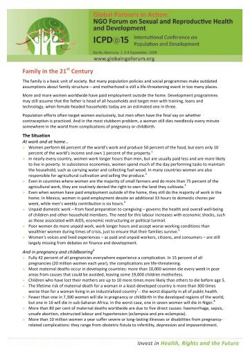 Berlin NGO Forum 2009 Fact Sheet - Family 21st century FINAL ...