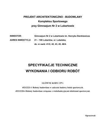 specyfikacje techniczne wykonania i odbioru robót - Gimnazjum nr 2 ...