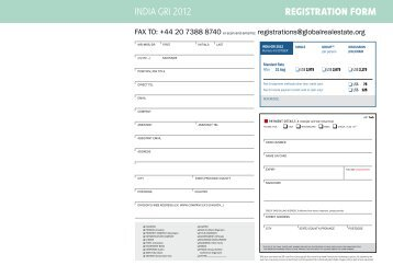 REGISTRATION FORM INDIA GRI 2012 - Global Real Estate Institute