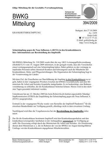 BWKG Mitteilung - Gesundheitsnetz Ostalbkreis