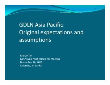 GDLN Asia Pacific: Original expectations and assumptions