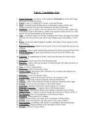 Unit 6: Vocabulary List