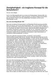 Zweigliedrigkeit - ein tragbares Konzept für die Schulreform? - GEW