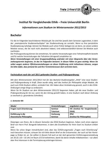 Informationen - Freie Universität Berlin