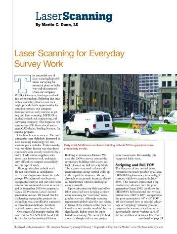 Laser Scanning for Everyday Survey Work - The American Surveyor