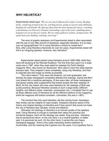 WHY HELVETICA - Gerrit Rietveld Academie