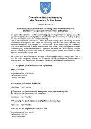Öffentliches Auswahlverfahren - Gemeinde Schluchsee