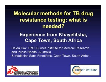 Molecular methods for TB drug resistance testing: what ... - GHDonline