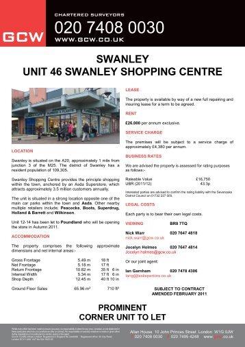 SWANLEY UNIT 46 SWANLEY SHOPPING CENTRE - GCW