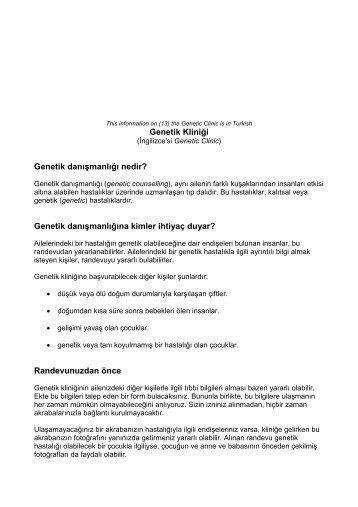 Genetik Kliniği - Genetic Alliance UK