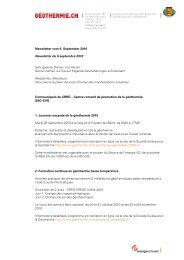 Newsletter vom 6. September 2010 Newsletter du 6 ... - Geothermie