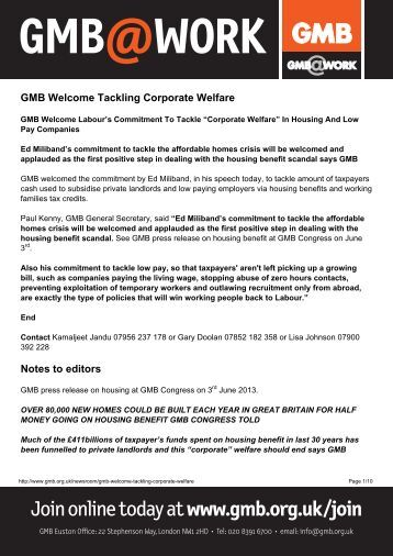 GMB Welcome Tackling Corporate Welfare