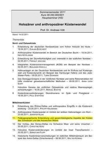 Holozäner und anthropozäner Küstenwandel - Geographisches Institut