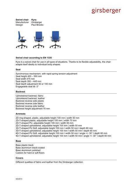 Text for tenders swivel chair (pdf) - Girsberger
