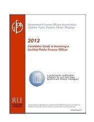 What Is The GFOA Certified Public Finance Officers Program