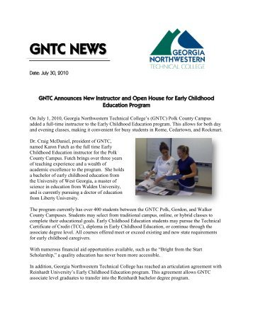 GNTC NEWS - Georgia Northwestern Technical College