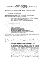 Protokoll der Fachtagung - Netzwerk Gegen Gewalt Leipzig