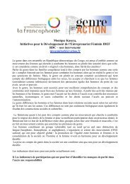 Monique Kaseya, Initiatives pour le ... - Genre en action